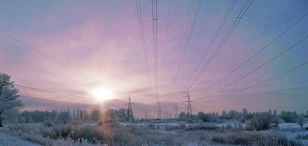 Electricity Pylon「Electricity Pylons in the Winter Countryside」:スマホ壁紙(3)