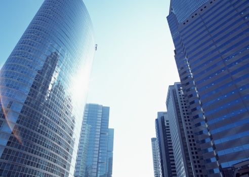 Low Angle View「Cluster of tall buildings」:スマホ壁紙(8)