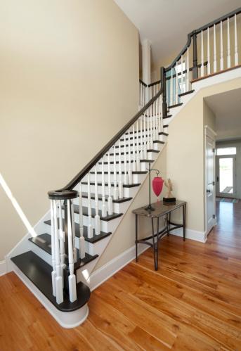 Steep「Elegant Entry Foyer, White, Black Staircase, Wide Angle, Home Interior」:スマホ壁紙(10)