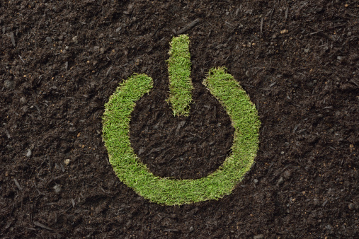 Start Button「Lawn in the shape of the power button on the soil」:スマホ壁紙(0)