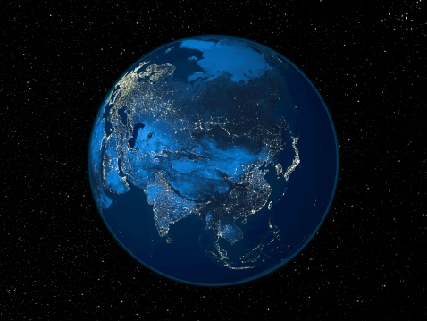 デジタル合成「Asia at night, satellite image of the Earth at night」:スマホ壁紙(15)