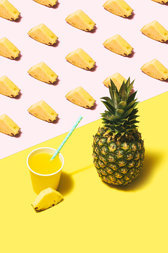 Color Block「Pineapple juice flat lay on pink and yellow background」:スマホ壁紙(3)
