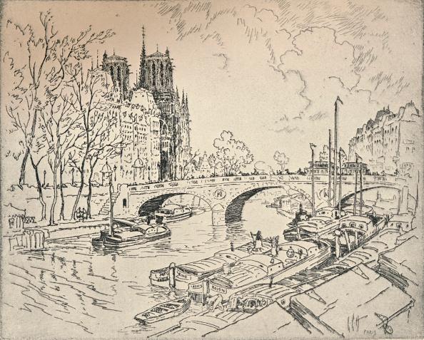 Etching「'The Seine at Notre Dame', 1915. Artist: Lester George Hornby.」:写真・画像(3)[壁紙.com]