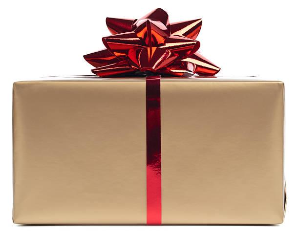 Gold gift box rapped in red ribbon:スマホ壁紙(壁紙.com)