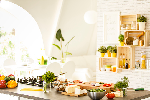 Spice「Vegetables, mushrooms and cheese on countertop」:スマホ壁紙(3)