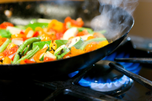 Stir-Fried「Vegetables cooking in skillet」:スマホ壁紙(5)