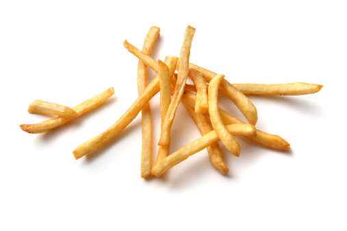 Fast Food「Vegetables: French Fries Isolated on White Background」:スマホ壁紙(4)