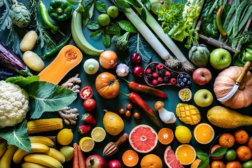 Edible Mushroom「Vegetables and fruits vegan food assorted arrangement varied」:スマホ壁紙(19)