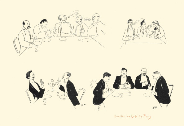 New Year「From The White And Orange Book: >New Year'S Eve In A Café In Paris<. Paris. Frankreich. 1901.  Lithograph By Sem (Georges Goursat).」:写真・画像(4)[壁紙.com]