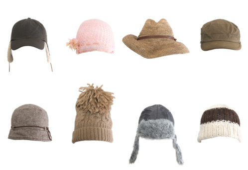 Fashion「Rows of different kinds of hats against white background」:スマホ壁紙(8)