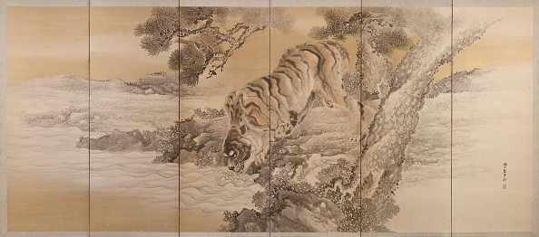Water's Edge「Six-Fold Screen Depicting A Drinking Tiger」:写真・画像(4)[壁紙.com]