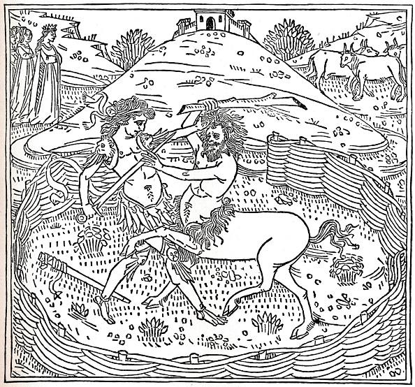 Woodcut「Theseus and the Centaur, Plutarch: Vitae Parallelae, 1491, (1917).」:写真・画像(3)[壁紙.com]