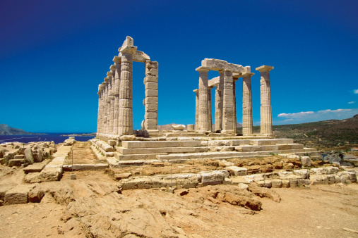 Aegean Sea「Old pillars of the Temple of Poseidon, Athens, Greece」:スマホ壁紙(12)