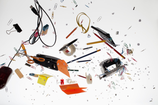創造性「Office supplies against a white background」:スマホ壁紙(4)