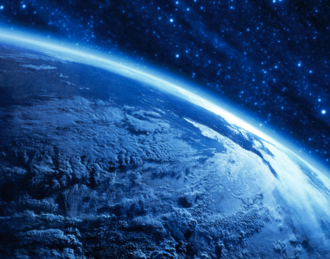 Outer Space「Earth's curvature view from space (digital composite & enhancement)」:スマホ壁紙(3)