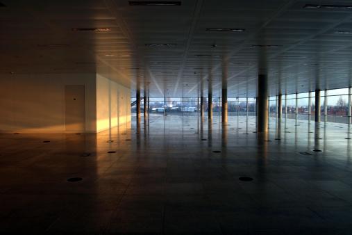 Dark「Empty office interior, lit wall」:スマホ壁紙(2)