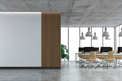 Corporate Business「Empty office interior with copy space and wordesks on concrete floor」:スマホ壁紙(16)