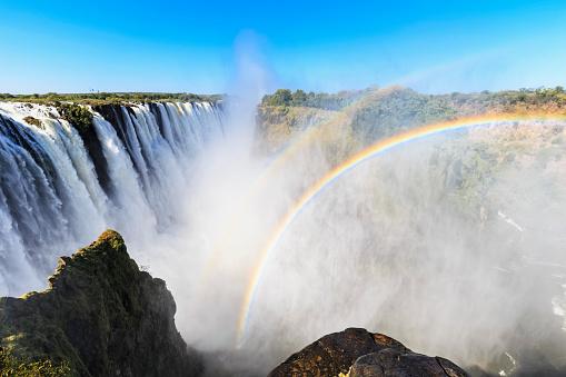 Rainbow「Southern Africa, Zimbabwe, Victoria Falls with rainbow」:スマホ壁紙(3)