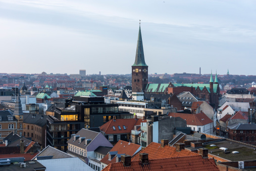 Arhus「Denmark, Aarhus, view to roofs of city center, view from above」:スマホ壁紙(10)