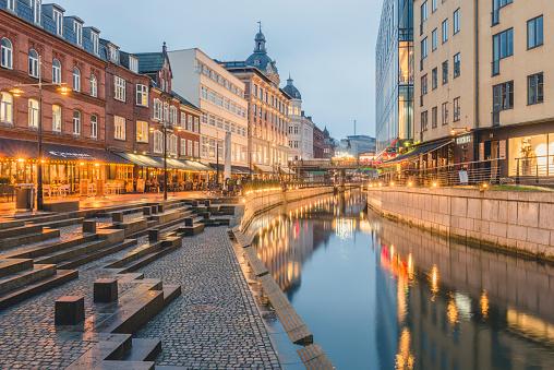 Jutland「Denmark, Aarhus, view to lighted city with Aarhus River」:スマホ壁紙(7)