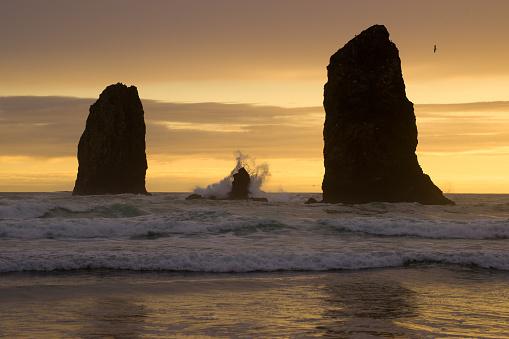 Cannon Beach「Sea Stacks and crashing waves.」:スマホ壁紙(19)