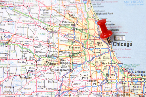 Illinois「Map with Pin on Chicago」:スマホ壁紙(7)