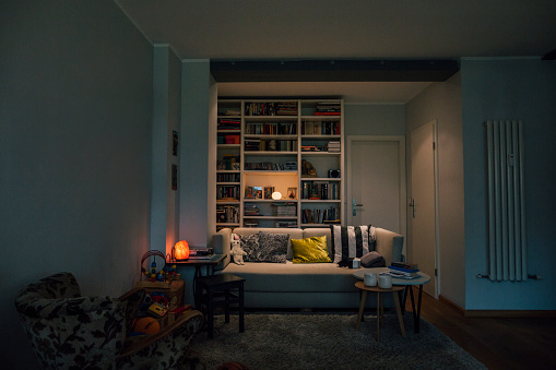 Bookshelf「Couch in cozy living room」:スマホ壁紙(3)