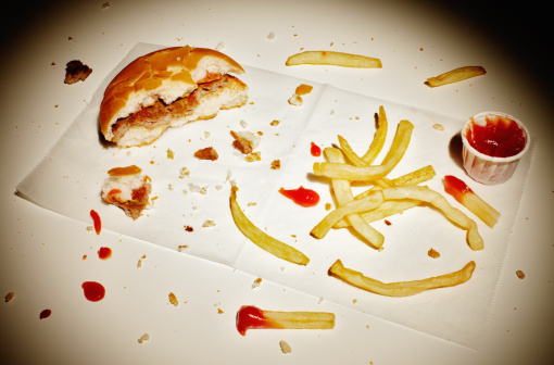 Sensory Perception「Half eaten burger and fries. 」:スマホ壁紙(15)