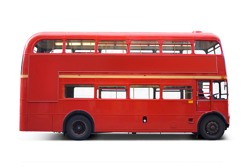 Double-Decker Bus「Bright red bus with clipping paths」:スマホ壁紙(5)