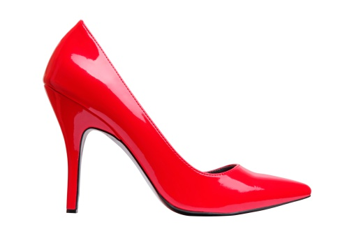 Red「A bright red high heel woman's shoe by itself 」:スマホ壁紙(18)