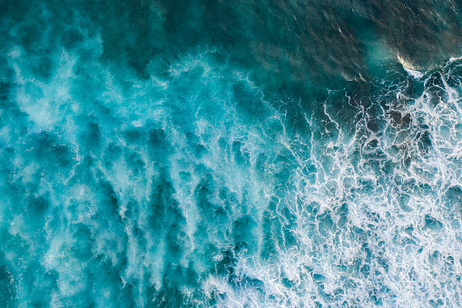 Seascape「Bali, aerial shot of the turquoise ocean surface with waves.」:スマホ壁紙(5)
