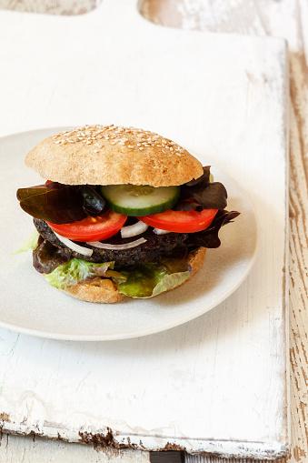Veggie Burger「Homemade veggie burger, mushroom lentil fritter」:スマホ壁紙(16)