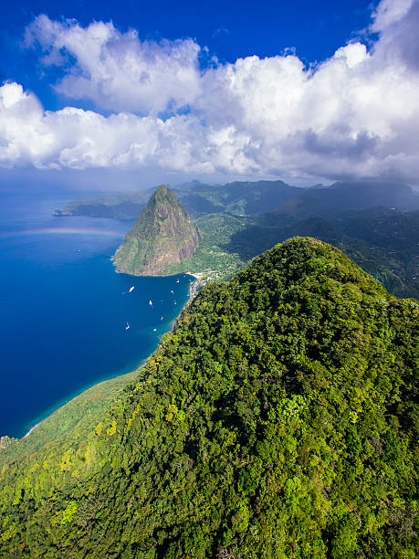 Caribbean, Antilles, Lesser Antilles, Saint Lucia, Pitons Bay, Aerial view to Volcanos Gros Piton and Petit Piton:スマホ壁紙(壁紙.com)