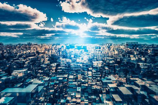 Alien「Alien futuristic cityscape」:スマホ壁紙(8)
