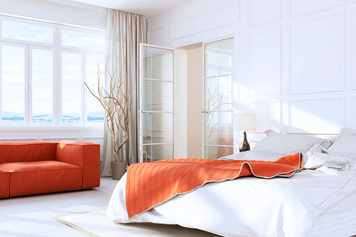 Villa「White Luxury Bedroom Interior」:スマホ壁紙(11)