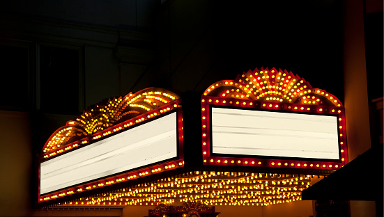 Entrance Sign「Lighted Theater Marquee at night with 2 copy space areas」:スマホ壁紙(7)