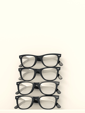 Studio Shot「Four black glasses stacked on white background」:スマホ壁紙(10)