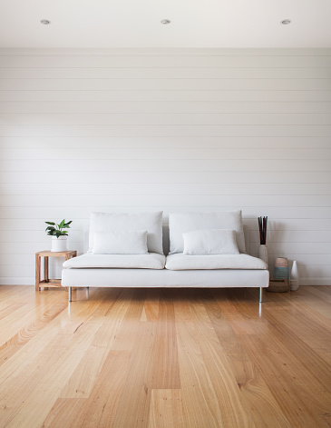 Wood Paneling「Living Room White Couch Timber Floor」:スマホ壁紙(1)