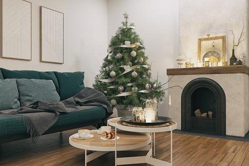 Christmas「Living room with Christmas decoration」:スマホ壁紙(9)