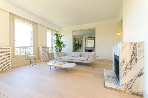 Wood Laminate Flooring「Living room in a luxury apartment.」:スマホ壁紙(12)
