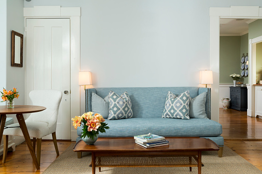 Light blue「Living room with blue sofa in Mid-Century theme」:スマホ壁紙(2)
