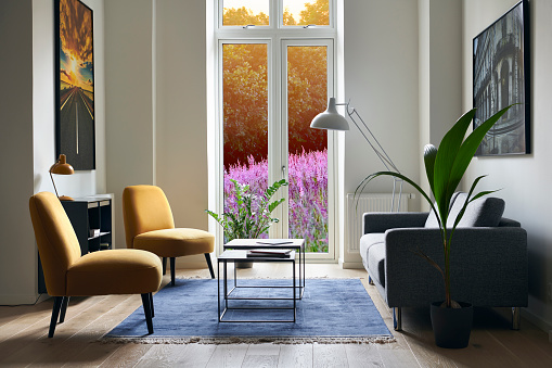Denmark「Living room with view to flower field」:スマホ壁紙(5)