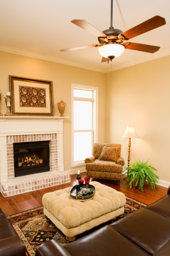 Ceiling Fan「Living room with fireplace」:スマホ壁紙(9)