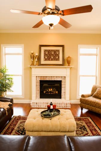 Ceiling Fan「Living room with fireplace」:スマホ壁紙(8)