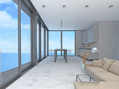 Villa「Living room and kitchen with windows and view of sea」:スマホ壁紙(6)
