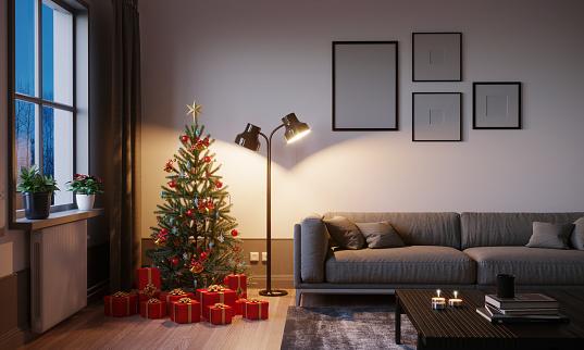 Floor Lamp「Living Room At Christmas」:スマホ壁紙(2)