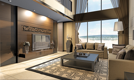 Villa「Living Room Interior At Seashore」:スマホ壁紙(6)