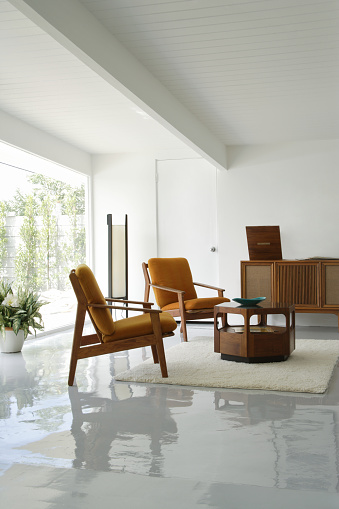 Mid-Century Style「Living Room with Vintage Stereo」:スマホ壁紙(8)