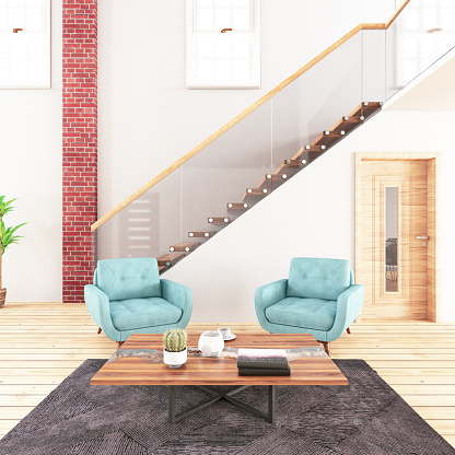 Steps and Staircases「Living Room with Stairs」:スマホ壁紙(14)