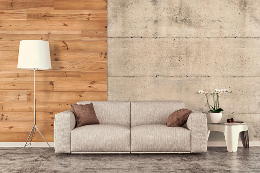 Concrete「Living room with sofa, decoration and copy space」:スマホ壁紙(11)